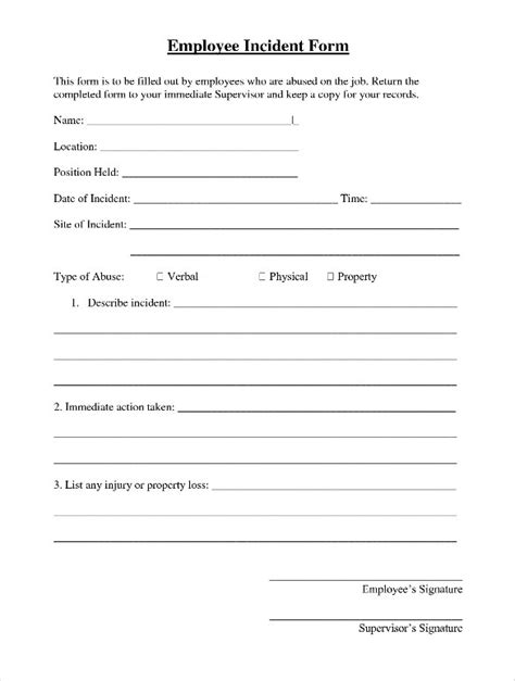 employee report template employee incident report template 10 free pdf word