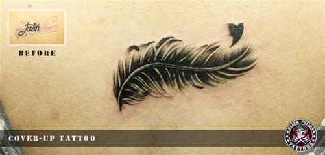 feather cover up tattoo amazing cover up bird feather black poison