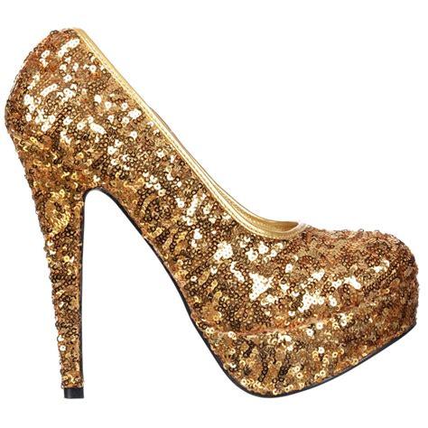 shoekandi gold sparkly sequin high heel platform stiletto
