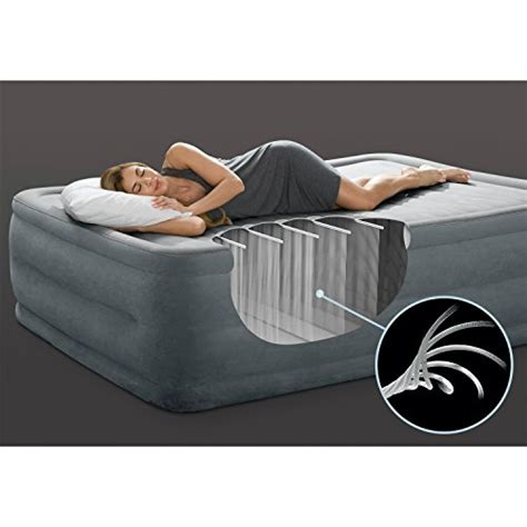 intex comfort plush elevated dura beam airbed with built in electric bed height 22 quot
