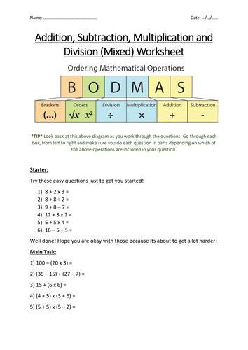 bodmas worksheets year 7 bidmas bodmas maths worksheet secondary maths