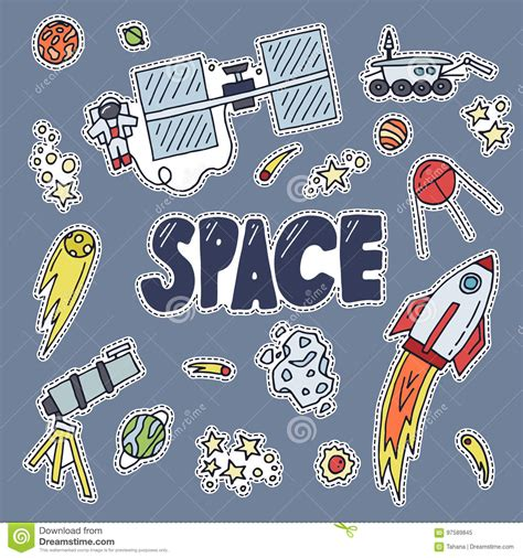 doodlebug exploration space patch vector illustration cosmos discovery and