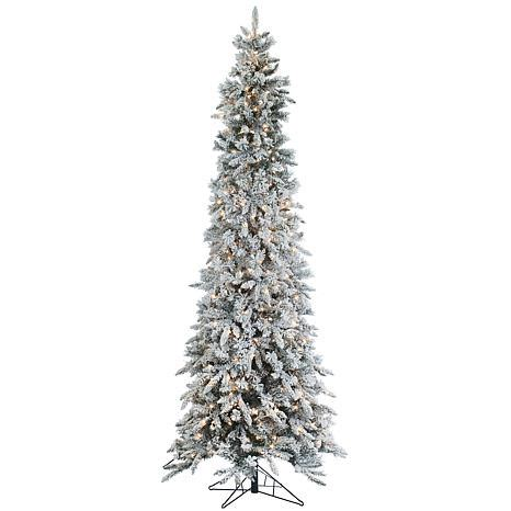 sterling nine foot flocked led trees sterling 9 narrow flocked pencil pine lighted tree 7937947 hsn