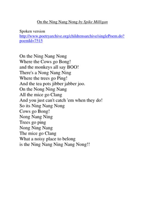 printable version ning nang nong exles of different types of poetry by goofygoober