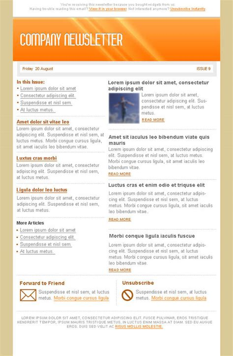 newsletter email templates orange email marketing newsletter template free psd files