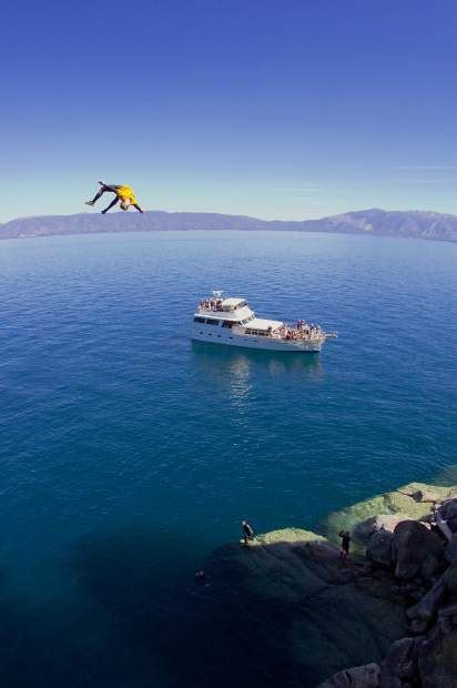 tahoe rope swing thrill seekers land backflips into lake tahoe from 99 foot