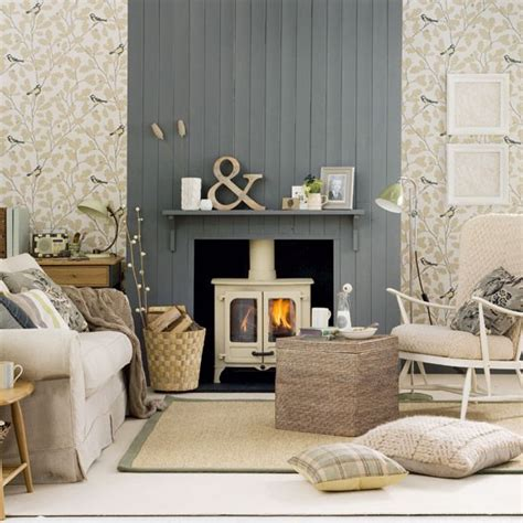 Country Living Room Wallpaper Neutral Country Living Room Living Room Decorating Ideas