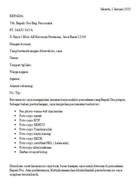 cara membuat surat lamaran kerja ke sekolah contoh surat lamaran kerja bagi lulusan smk ben jobs