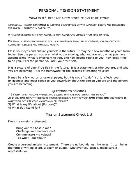 personal mission statement template 4 free mission statement templates word excel sheet pdf