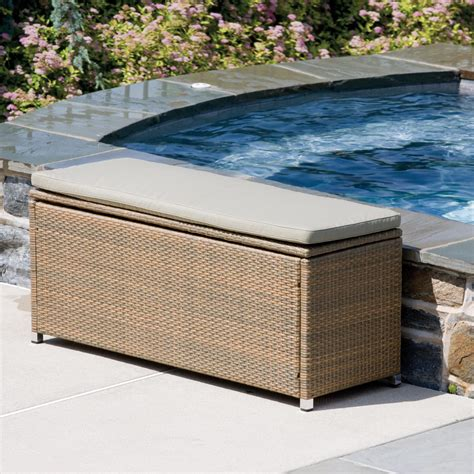 outdoor wicker storage bench seating indoor benches hayneedle com