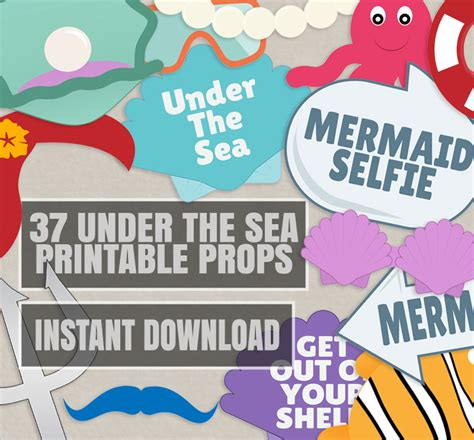 printable photo booth props under the sea 37 under the sea party props diy mermaid party photobooth
