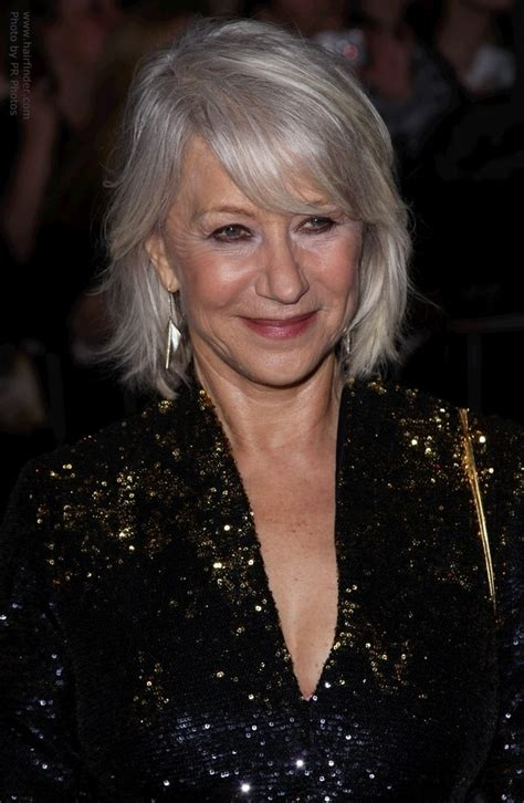hair cuts for white hair helen mirren with her silver white hair in a style that