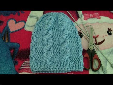 gorro acanalado tejido en dos agujas o palitos en 4 tallas una forma diferente de tejer gorro de trenzas unisex tejido en dos agujas o palitos