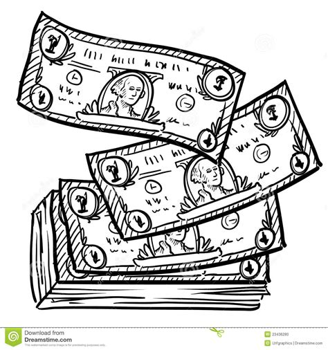 stack of money sketch stock vector illustration of bills