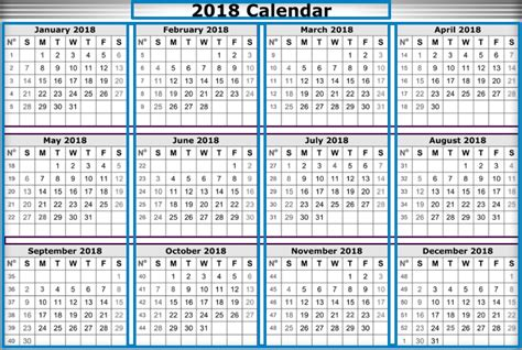 2018 yearly calendar template 2018 calendar template word excel