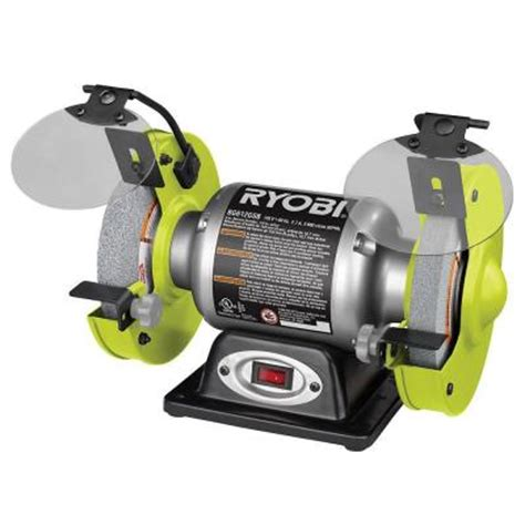 bench grinder ryobi ryobi 2 1 amp 6 in bench grinder bg612gsb the home depot