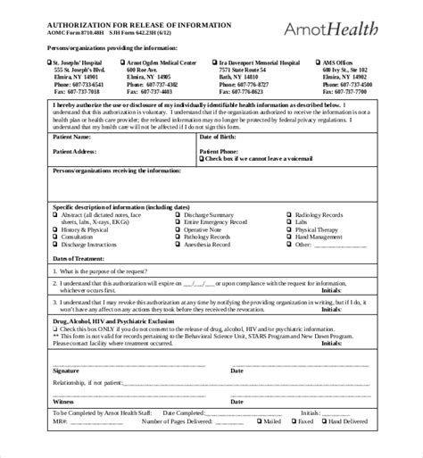 Doctor Records 19 Sle Records Release Forms Sle Forms