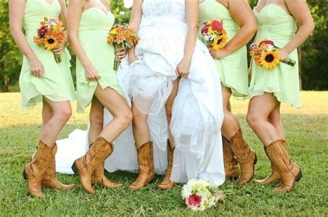 Country Wedding Hairstyles For Bridesmaids by Southern Wedding Bridesmaids Boot Looks