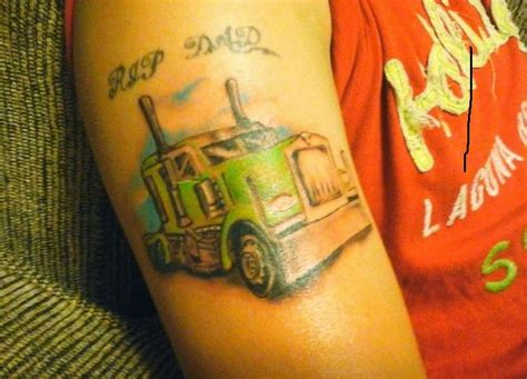 truck driver tattoos colorful semi truck 18 wheeler truck memorial