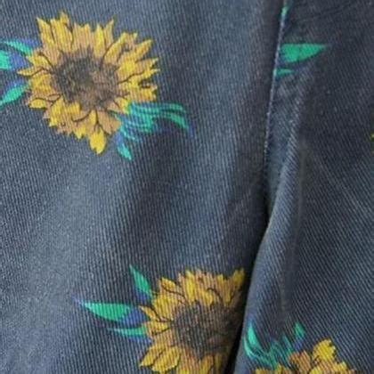 Sun Flower Overall 1 sunflower print denim overall shorts on luulla