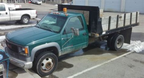 how cars run 1999 gmc 3500 seat position control sell used 1999 gmc c 3500hd 6 5l turbo diesel truck flatbed with sidewalls window guard in