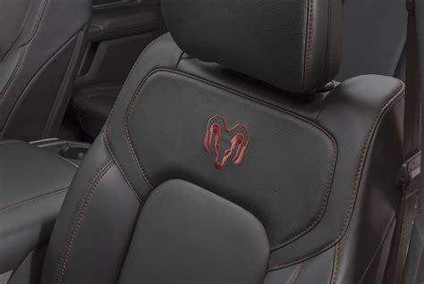 premium black katzkin leather seats   front   carry rebel red rams head logos