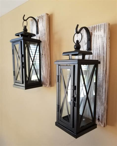 Rustic Lantern Wall Sconce Set Of 2 Medium Rustic Wall Mounted Lantern Sconces Id Lights