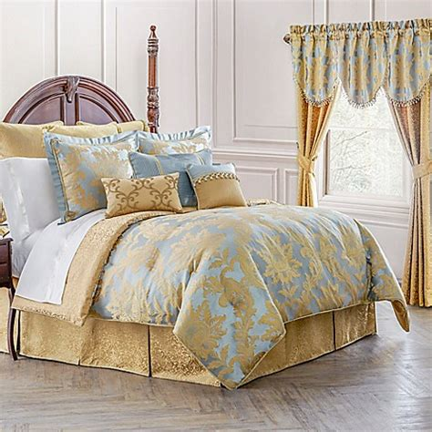 Blue And Gold Bedding Sets Waterford 174 Linens Juliette Reversible Comforter Set In Blue Gold Bed Bath Beyond