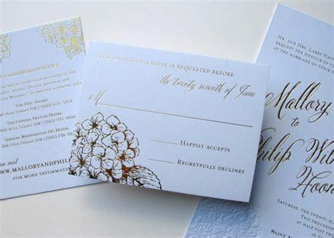 hydrangea wedding invitation blue and gold hydrangea wedding invitations digby