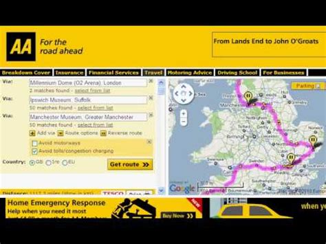 printable route planner uk aa route planner aa route finder guide youtube