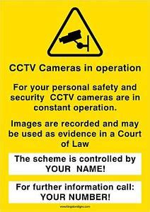 personalised cctv in operation warning sign your