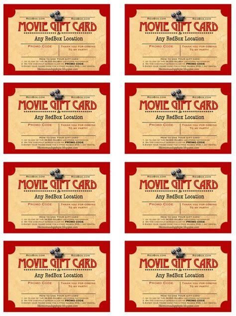 Printable Movie Gift Cards - best 25 redbox gift card ideas on pinterest red box codes the redbox and redbox
