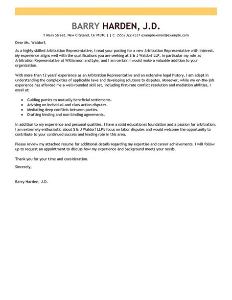 arbitration template arbitration representative cover letter exles