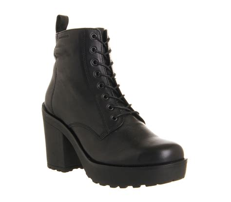 womens vagabond libby heeled lace up black leather boots