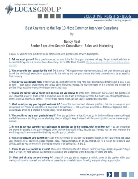 best answers to the top 10 most common questions