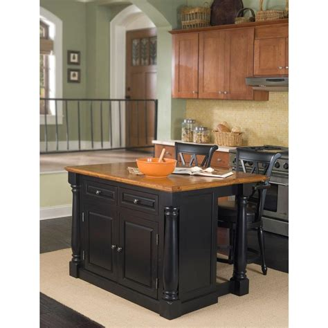 Black Kitchen Island With Seating Home Styles Monarch Black Kitchen Island With Seating 5008 948 The Home Depot