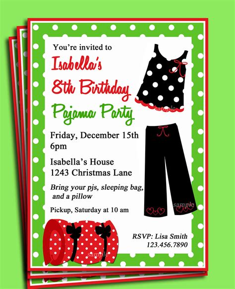 free christmas pj invitation pajama printable invitation birthday