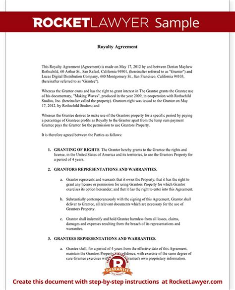 agreement document template royalty agreement template sle royalty agreement