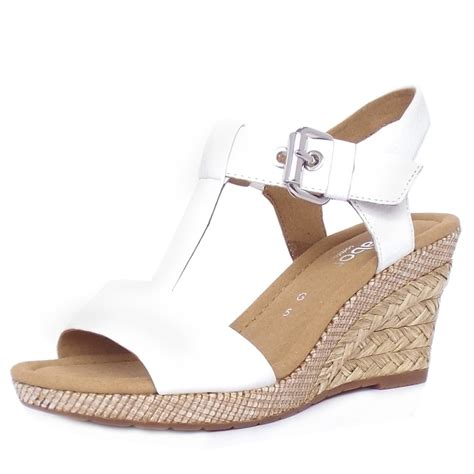 White Sandal gabor s woven raffia wedge sandals in white