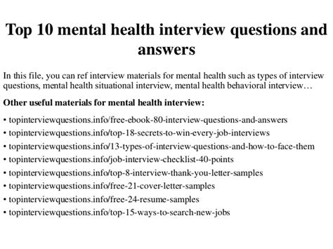 Top 10 mental health interview questions and answers