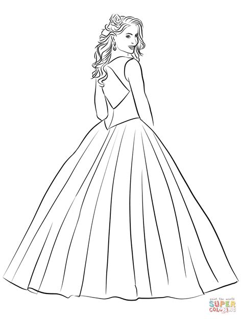 coloring pages ball gowns quinceanera coloring page free printable coloring pages