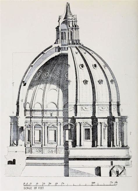 saint peter basilica architectural floor plan vatican city 1933 renaissance architecture section and elevation of the dome of saint peter s