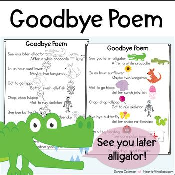 goodbye poem  donna coleman teachers pay teachers
