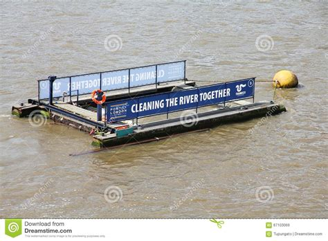 environmental boat cleaner river thames cleaning editorial stock image image of