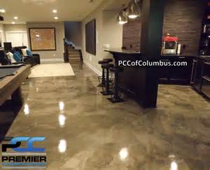 basement flooring metallic epoxy finish stained