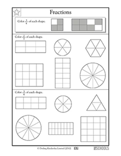 fraction coloring sheets 3rd grade math worksheets fractions coloring parts of