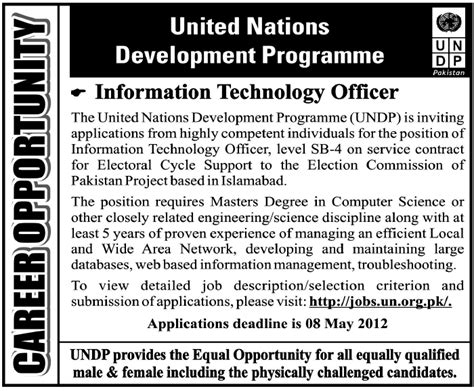 Sle Resume For Undp un vacancy undp united nations requires information technology