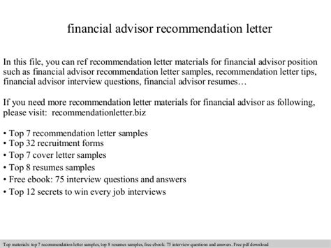 Financial Advisor Letter Of Recommendation Financial Advisor Recommendation Letter
