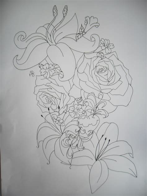 flowers tattoo design lineart by tattoosuzette on deviantart