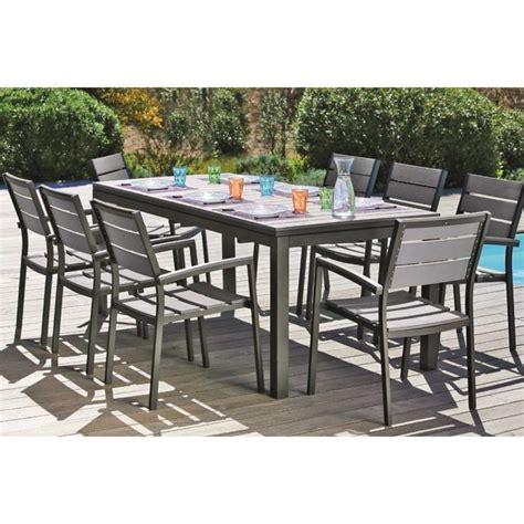 salon de jardin extensible ensemble table extensible de jardin 200 250 300 cm 8 fauteuils aluminium et nowood 266880